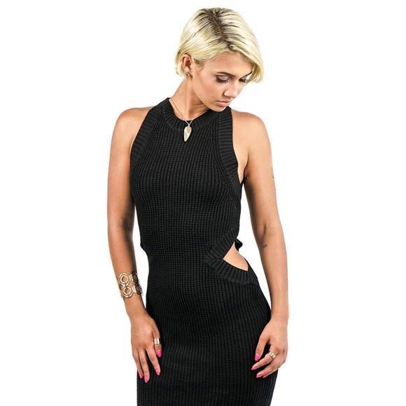 Dresses & Skirts - Black Knit Side Cut Out Dress